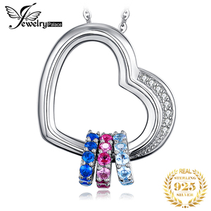 Image 1 - Heart Created Pink Blue Sapphire Pendant Necklace 925 Sterling Silver Gemstones Choker Statement Necklace Women Without Chain