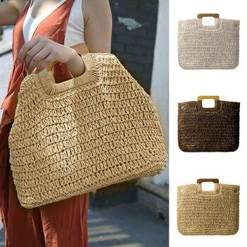 Bolsa de paja de playa Vintage para mujer, bandolera tejida hecha a mano para mujer, bolso de verano, bolso de hombro tipo bandolera