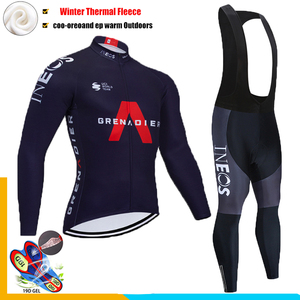 2020 Pro Team INOES Winter Thermal Fleece Cycling Clothes Mens Long Sleeve Jersey Suit Outdoor Riding Bike MTB Clothing Bib Set