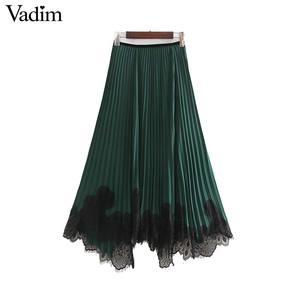 Image 2 - Vadim mujeres chic encaje patchwork chifón Falda plisada cintura elástica irregular diseño femenino casual verde faldas midi BA819