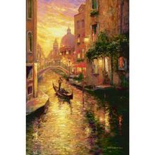 Современные художественные пейзажи картина маслом Гондолы на закате, Венеция ручная роспись Декор Спальни