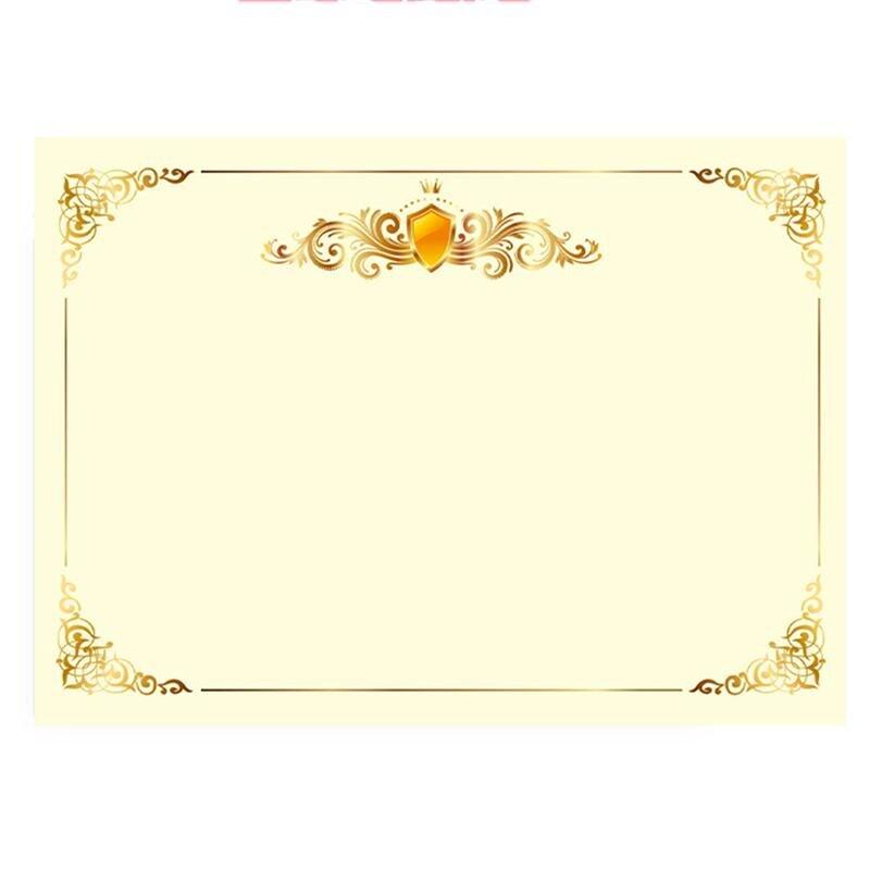 100 Pcs A4 21x29CM Blank Metallic Gold Border Certificate Paper