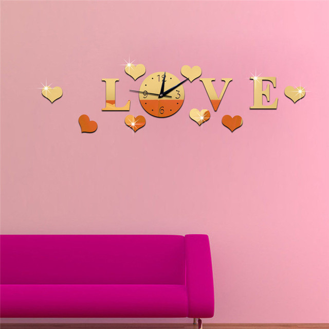DIY LOVE Stereo Acrylic Clock Living Room Mirror Wall Sticker Home Decoration Alphabet Love Letters Wall Decor Lovely Wallpaper