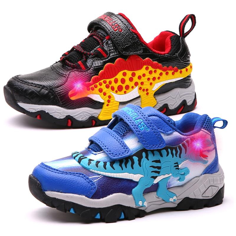 Dinoskulls Boys Sport Shoes LED 3D Dinosaur Kids Sneakers Light Up Autumn Children Trainers 2021 Glowing Child Tennis Shoes