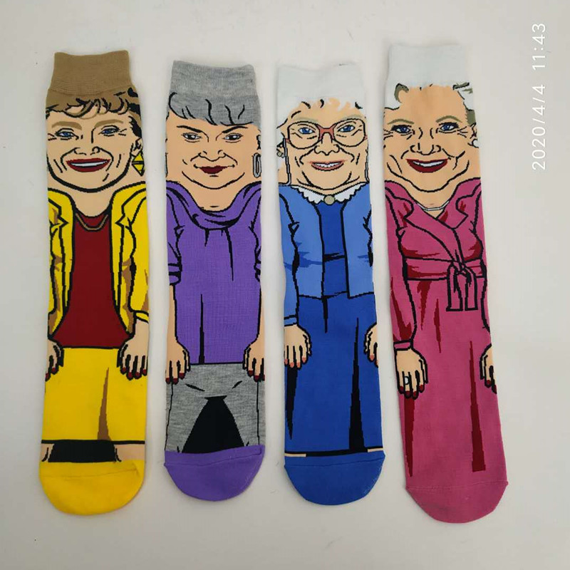 Cartoon Character Golden Girls Socks Hip Hop Harajuku Anime Funny Yellow Socks Novelty Men Women Personalized Cotton Men Socks