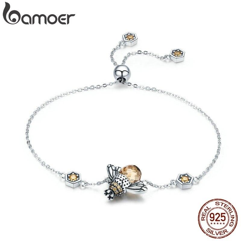 BAMOER Genuine 100% 925 Sterling Silver Dancing Honey Bee Chain Link Women Bracelet Crystal Big Stone Bracelet Jewelry SCB043