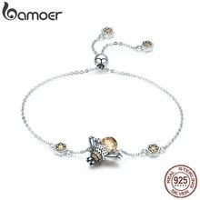 Bamoer Echt 100% 925 Sterling Zilver Dansen Honey Bee Chain Link Vrouwen Armband Kristal Grote Steen Armband Sieraden SCB043