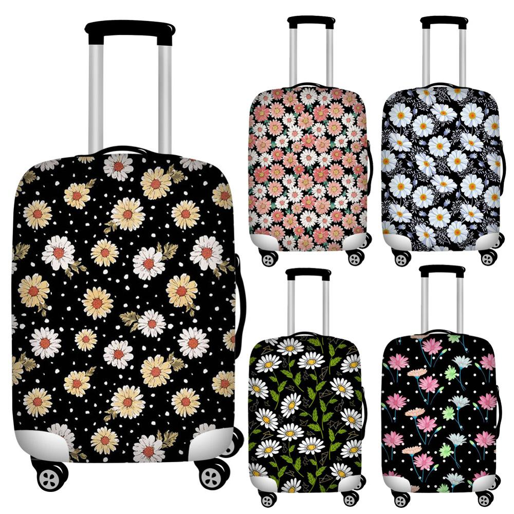 Flower Daisy Travel Luggage Dust Cover Stretch Protective Suitcase Cover For 18''-32'' Trolley Trunk Case Waterproof