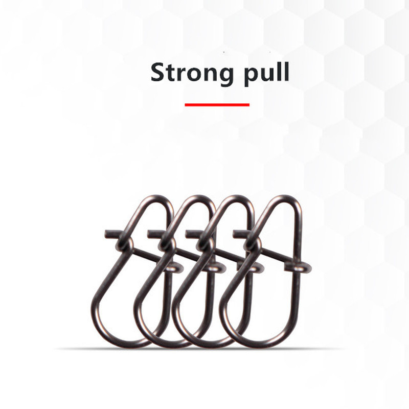 10pcs/bag Gourd Type Stainless Steel Hook Swivel Solid Rings Safety Snaps Fast Clip Lock Snap Connector Fishing Tackle Tool