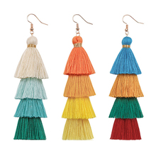 New 3 Layered Bohemian Fringed Luxury Statement Tassel Earrings 2020 Boho Fashion Jewelry Women Long Drop Dangle Earrings