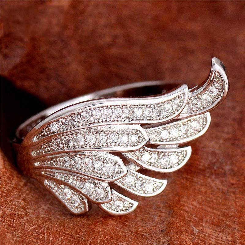 Accesorios de fiesta anillo con forma de ala de moda para mujer conjunto de alas de Ángel de circonio anillo de creatividad Anillos joyas plateadas