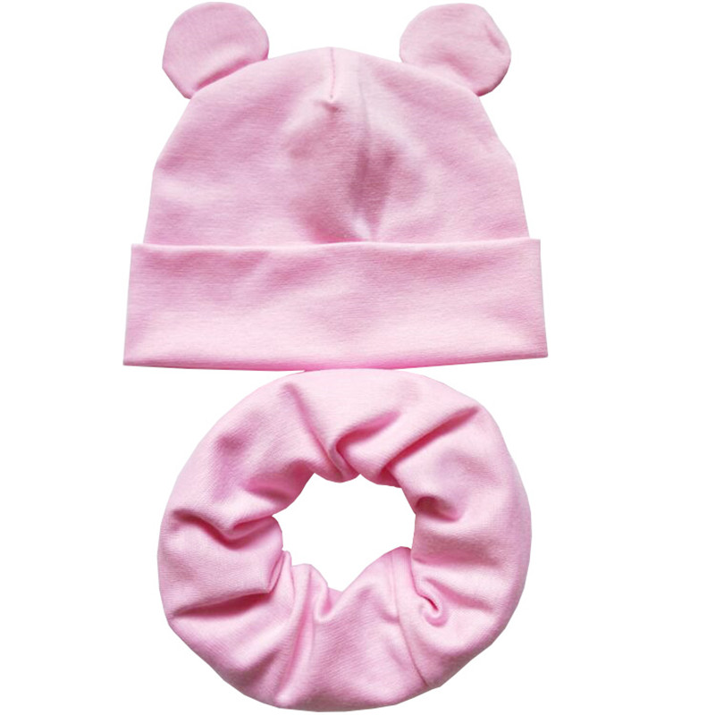 New Autumn Winter Cotton Children Hat Cap Set Boys Girls Cap with Ear Kids Beanies Sets Knitted Baby Hat Scarf