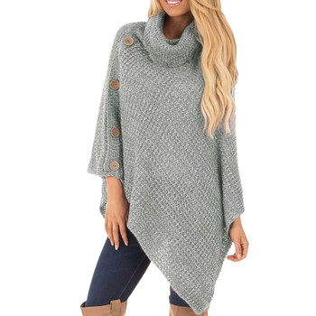 Women's Knitted High-neck Buttons Irregular Hem Pullover Sweaters Bottom Wear Loose Sweaters Warm And Comfortable