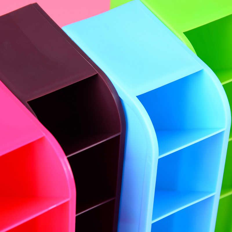 Plastic 4 Compartiment Desktop Opbergdoos Organizer Cosmetische Make-Up Bureau Houder