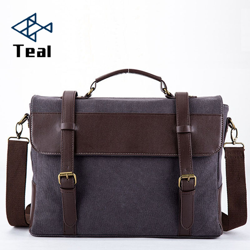 2019 Business Messenger Bags For Men Briefcase Canvas Coffee Black Crossbody Shoulder Pack Retro Casual Office Travel Bag