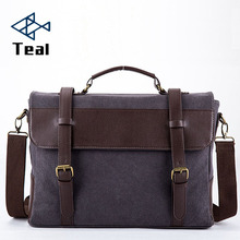 цена на 2019 Business Messenger Bags For Men Briefcase Canvas Coffee Black Crossbody Shoulder Pack Retro Casual Office Travel Bag