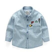 Children Kids Long Sleeve Denim Boy Girl Blouses Clothing Autumn Baby Jean Shirts 2019 Fashion Dinosaur Boys Shirts Baby Blouse