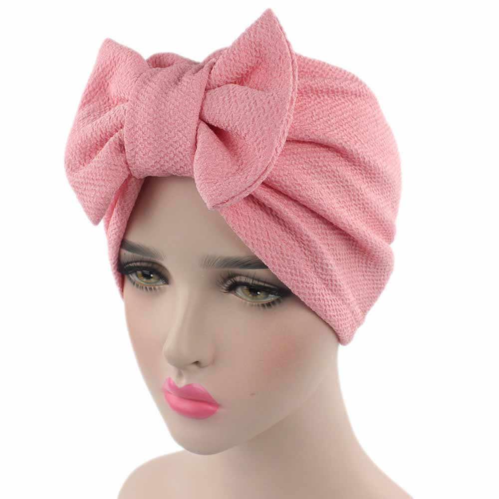 Muslim Solid Topi Wanita Ikatan Simpul Besar Peregangan Serban Hat Syal Hiasan Kepala Cap Kepala Kemo Beanies Busur Rambut Aksesoris