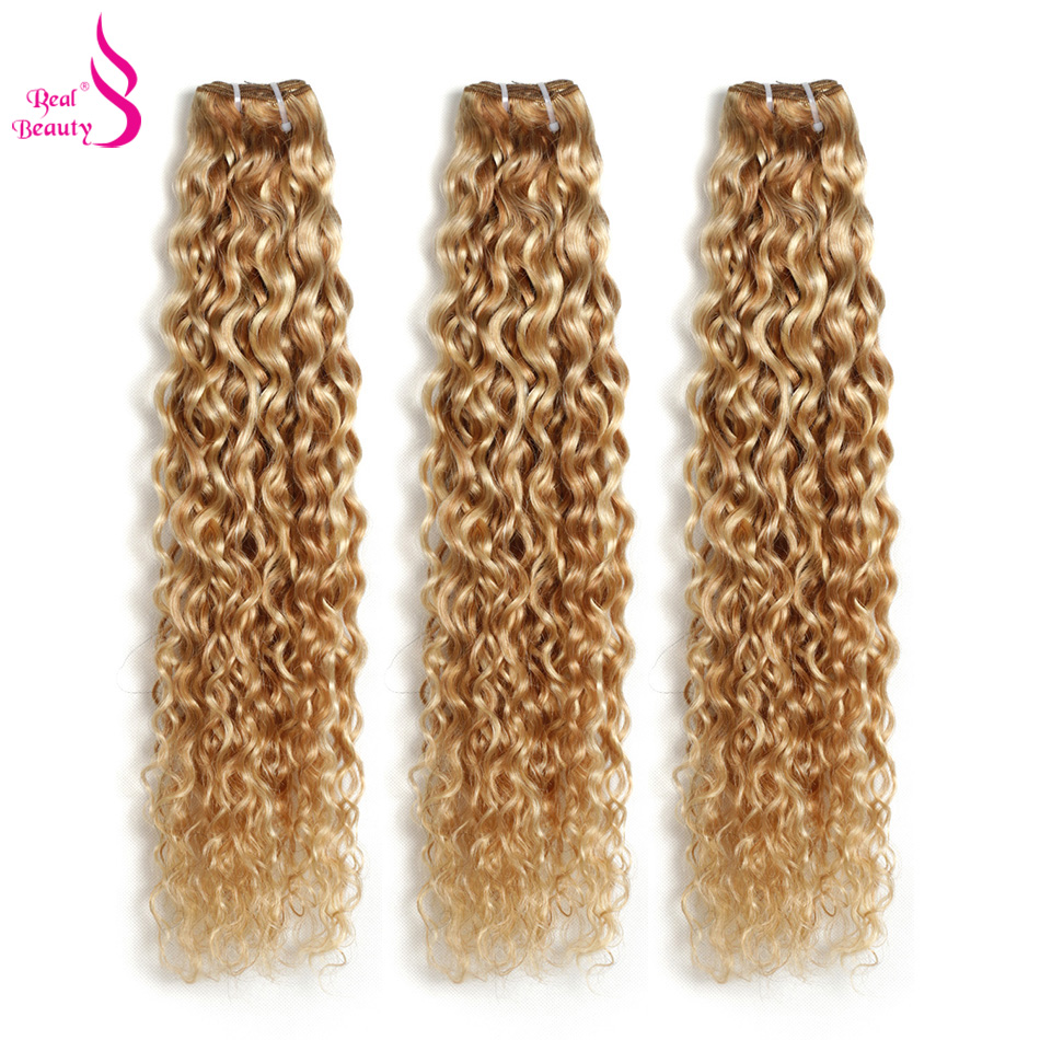 """Real Beauty Ombre Peruvian Water Wave P27/613 Two Tone Remy  Human Hair Extensions Weave Bundles Auburn 1/3/4 PC  12""""-24"""
