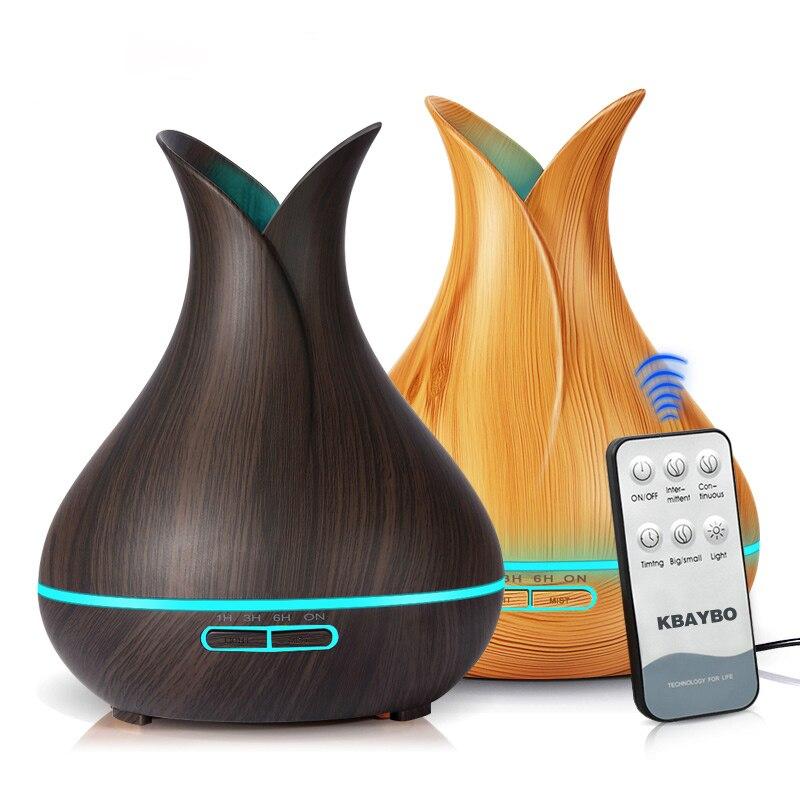Ultrasonic Umidificador De Ar 400ml Aroma Difusor de Óleos essenciais com Grão de Madeira 7 Mudança Da Cor Luzes LED para Home Office