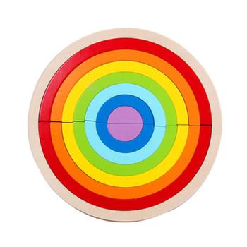 14 sztuk zestaw kolorowe drewniane bloczki zabawki dla dzieci kreatywny Rainbow montaż bloki zabawki Oyuncak Montessori Brinquedos tanie i dobre opinie CN (pochodzenie) Drewna Urodzenia ~ 24 Miesięcy 2-4 lat Sport can not eat