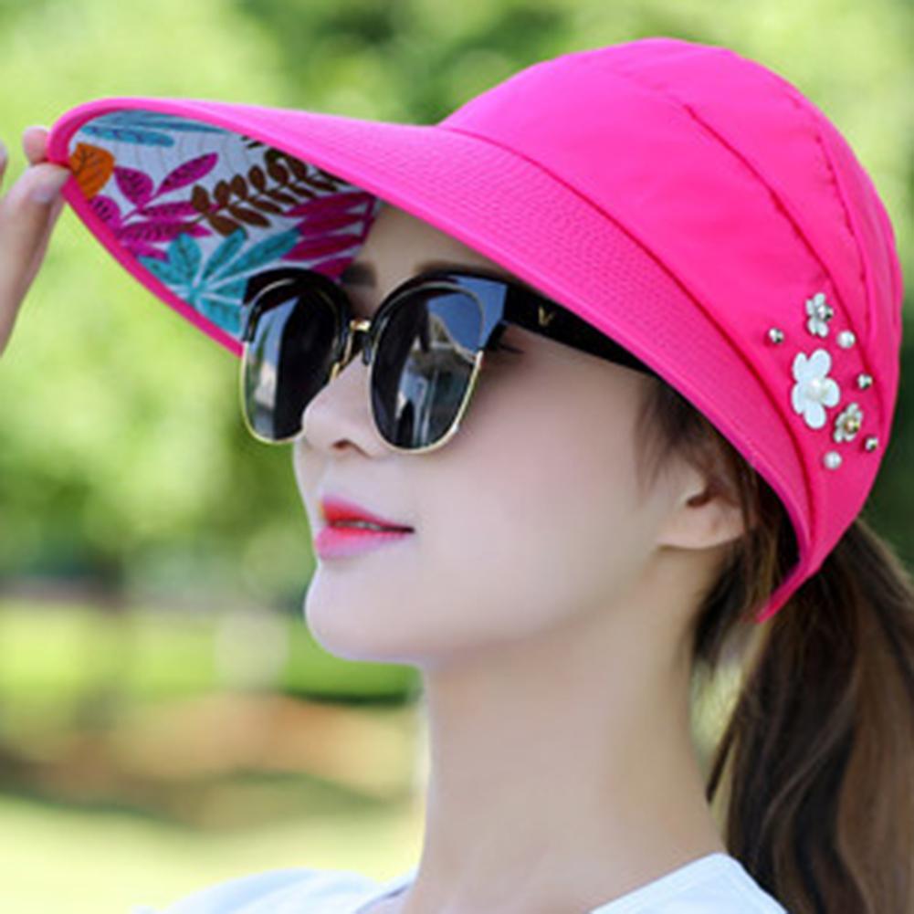 Women Solid Color Wide Brim Beads Flower Decor Sun Hat Visors Outdoor Sports Cap