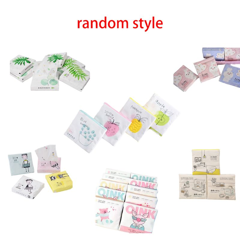 60Pcs/Pack 3 Ply Disposable Facial Paper Tissues Thickened Cute Colorful Cartoon Printing Napkins Portable Car Home Party Decor