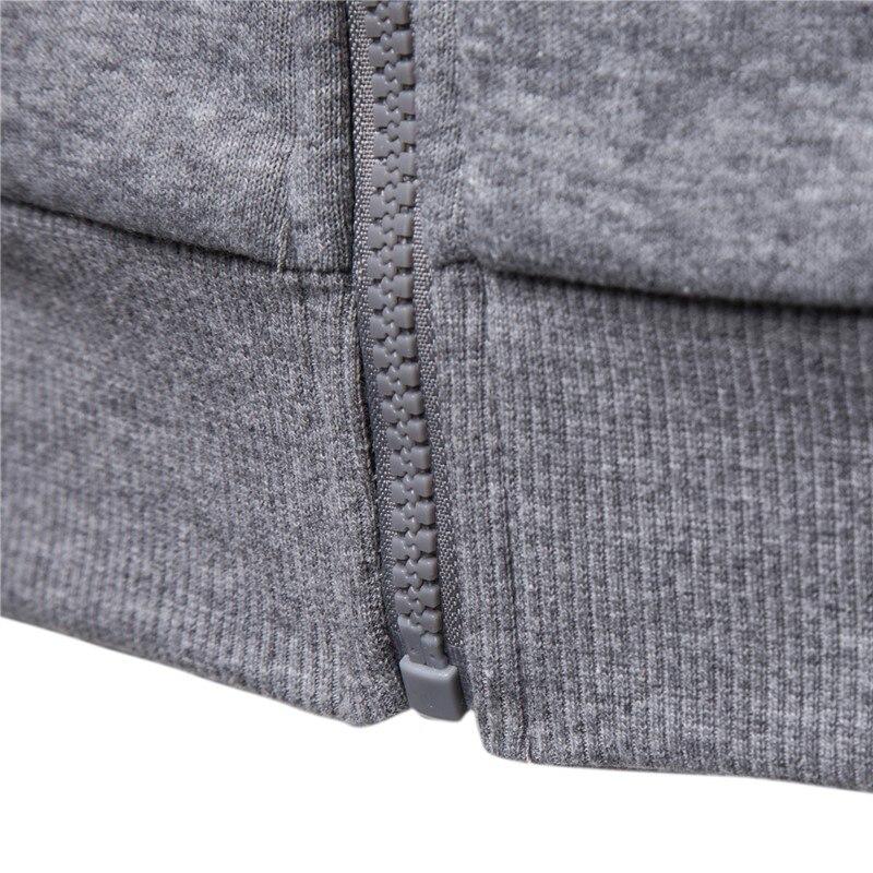 2019 New Autumn Winter Cotton Hoodied Mens Sweatshirts Solid Hoody Fleece Thick Hoodies Men Sportswear Zipper Sweatshirts Men 5