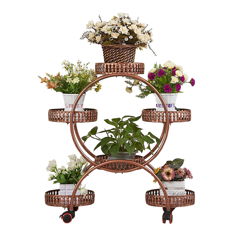 Flower Racks Wrought Iron Multi-layer Wheeled Floor-standing Green Radiant Flower Pots Living Room Flower Shelf Indoor Household