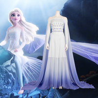 New Movie elsa White Dresses Princess Elsa Cosplay Costume Ice Snow Girl Queen Adult Women Kids Halloween Party Dress Custom