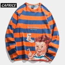 Thief boy Print 2019 Fashion stripe T Shirt Harajuku Streetwear Casual Cotton Hip Hop Long Sleeve tshirt Tops
