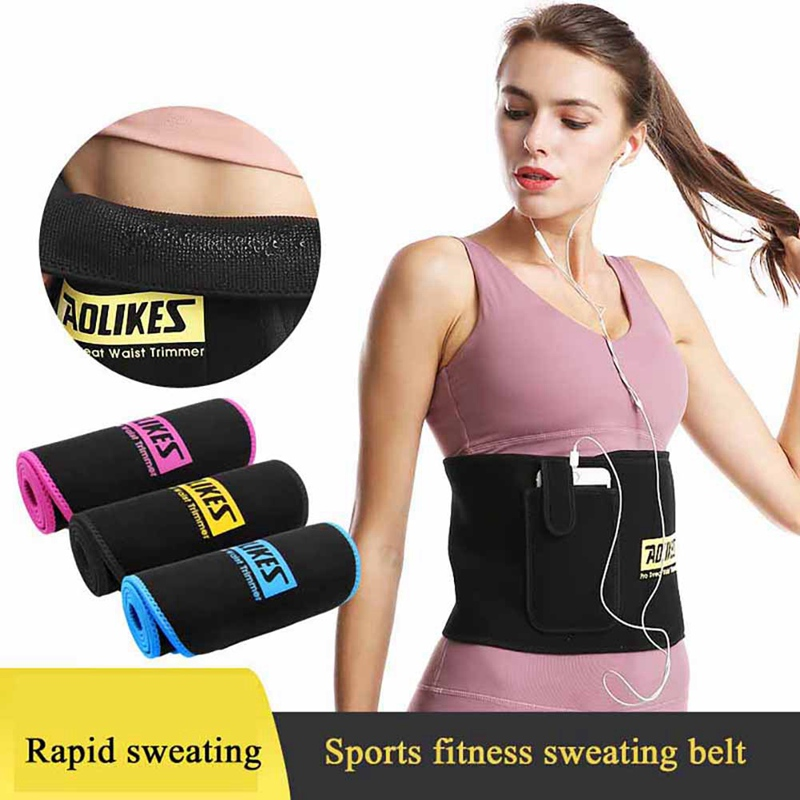 Women Waist Support Belt With Pocket Adjustable Thermal Sweating Lumbar Warmer Protection Trainer Wrap