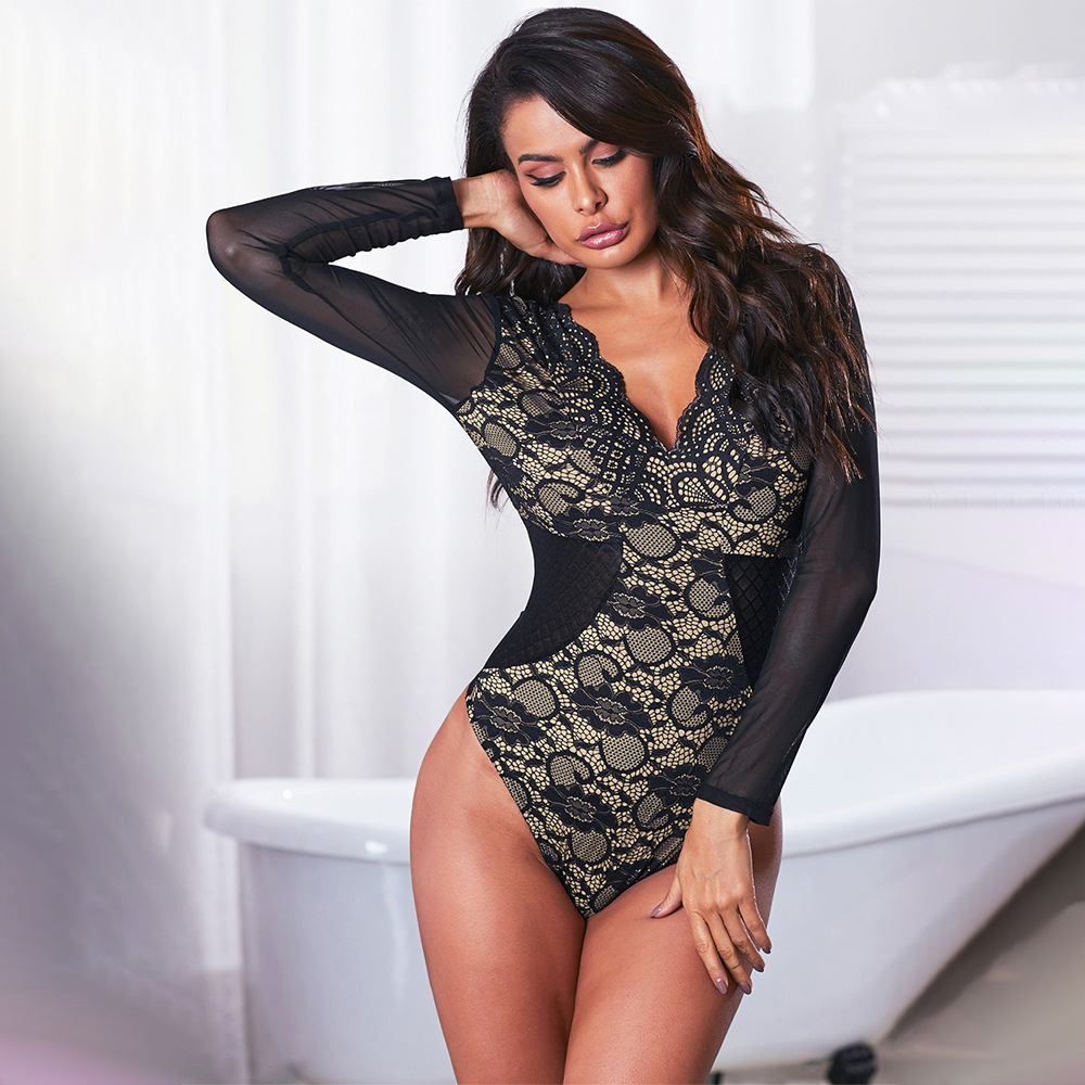 2020 Sexy V-neck Long Sleeve Lace Base Clothing Women's Printed Tight Sexy Onesie 32468