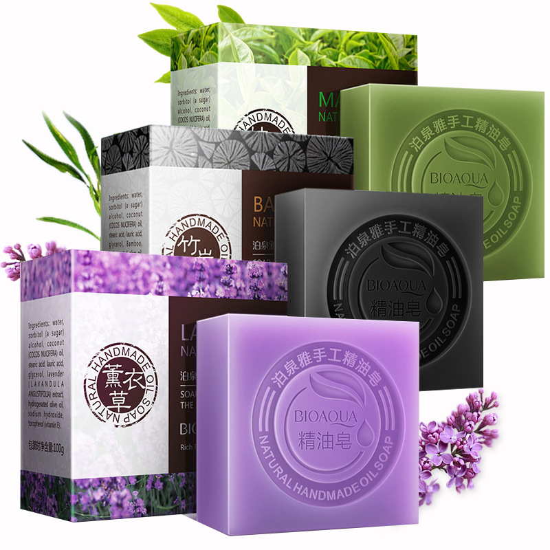 Bioaqua Handmade Bath Shower Soap Bamboo Lavender Jasmine Goat Milk Blueberry Face Body Wash Deep Cleansing Whitening Skin Care