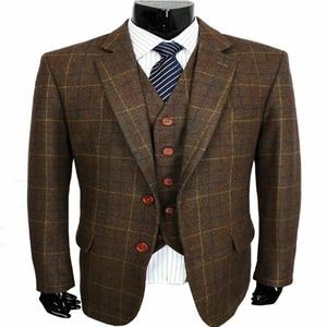 Image 2 - 2020 Bruin Koffie Wol Blend Notch Revers Twee Knop Pakken 3 Stuks Vintage Tweed Formele Peaky Blinder Herenpakken