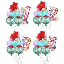Disney ruiva sereia folha de alumínio 32 polegada número balão conjunto aniversário capina festa decoração suprimentos dos desenhos animados ariel balão