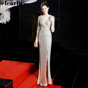 Deep V-Neck Formal Gowns Robe De Soiree New Sequins Women Party Dress DX246-5 2019 Plus Size Floor Length Mermaid Evening Dress