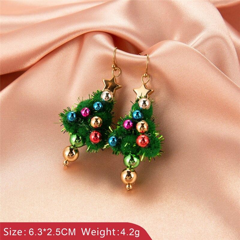 Новогодние серьги с украшением в виде кристаллов со снеговиком, ювелирное изделие, рождественские гвоздики дерево серьги-гвоздики в форме ...