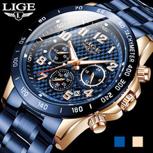 2020 nova chegada dos homens relógios lige topo de luxo marca esporte relógio masculino cronógrafo quartzo relógio de pulso data masculino relogio masculino + caixa