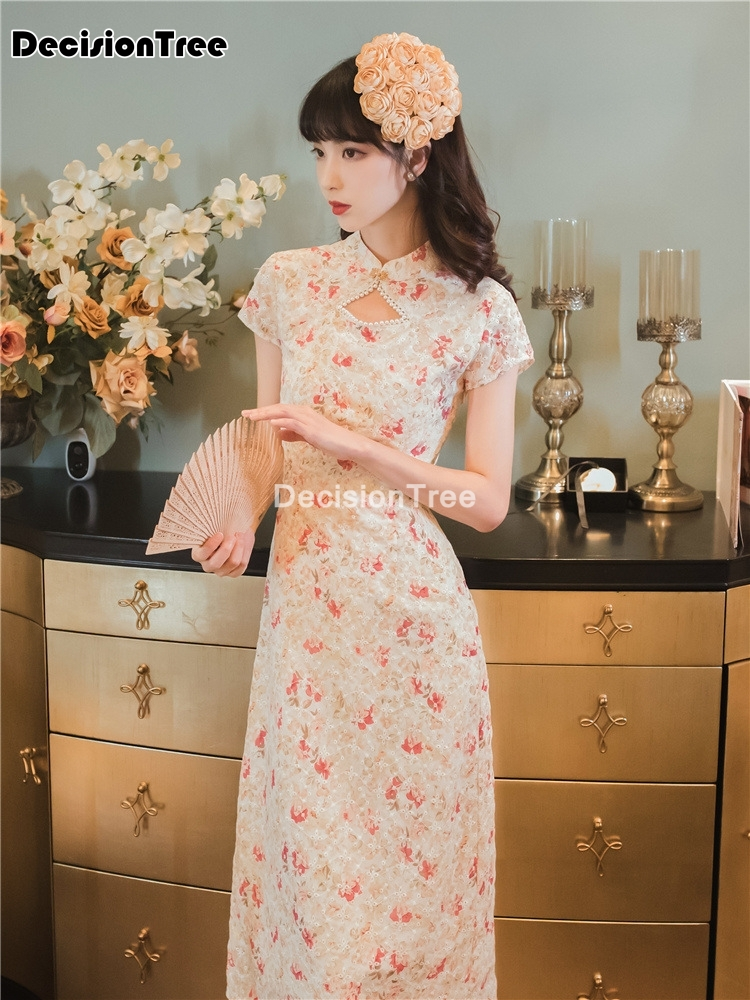 2021 party dress women vestidso lace elegant lady cheongsam mermaid vintage qipao chinese dress elegant lady party dress