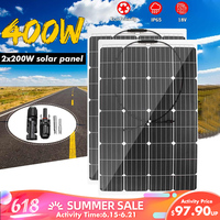 400W/200W 18V Solar Panel Semi flexible Monocrystalline Solar Cell DIY Cable Waterproof Outdoor Connector Battery Charger
