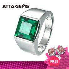 Emeraldแหวนเงิน925เงิน4.8กะรัตสแควร์10มม.สร้างมรกตสีเขียวคุณภาพสูงสำหรับชาย