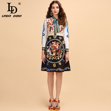 LD LINDA DELLA Autumn Fashion Runway Long Sleeve A Line Dress Women's Bow Collar Angel Floral Print Patchwork Midi Vintage Dress baogarret fashion designer autumn dress women s long sleeve bow collar tiered floral leopard print vintage dress