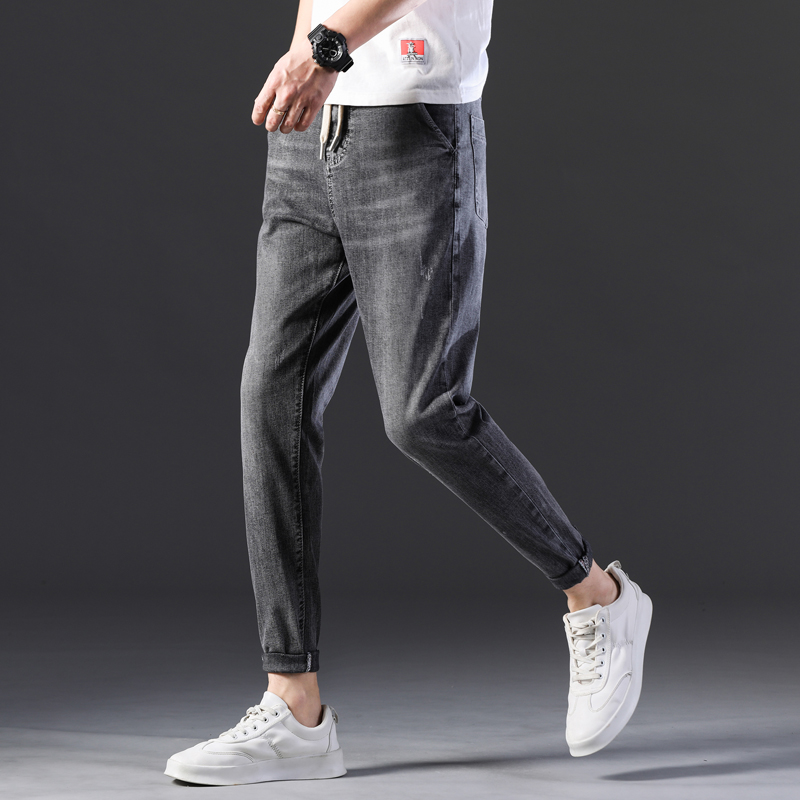 KSTUN Men's Jeans New Arrivals Spring and Summer Stretch Grey Haren Pants Leisure Joggers Pants Streetwear Drawstring Boys Jeans 14