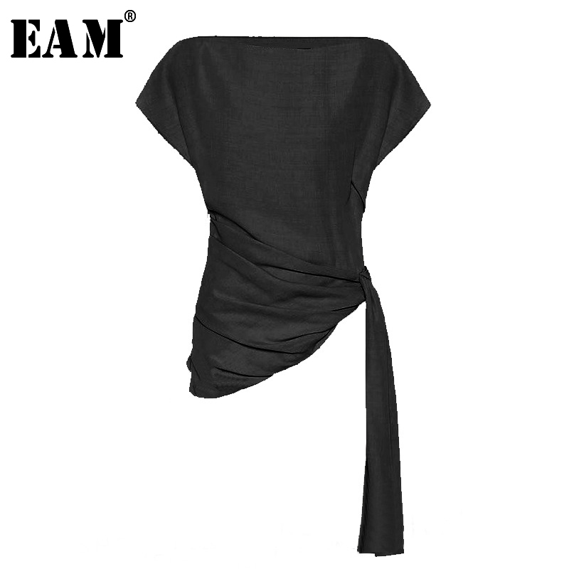 [EAM] Women Black Asymmetrical Pleated Bandage T-shirt New Round Neck Short Sleeve Fashion Tide  Spring Summer 2020 JU978