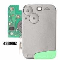 Jingyuqin 433 mhz pcf7947 chip 2 botões remoto cartão chave do carro caso escudo com lâmina para renault laguna com lâmina chave sem corte