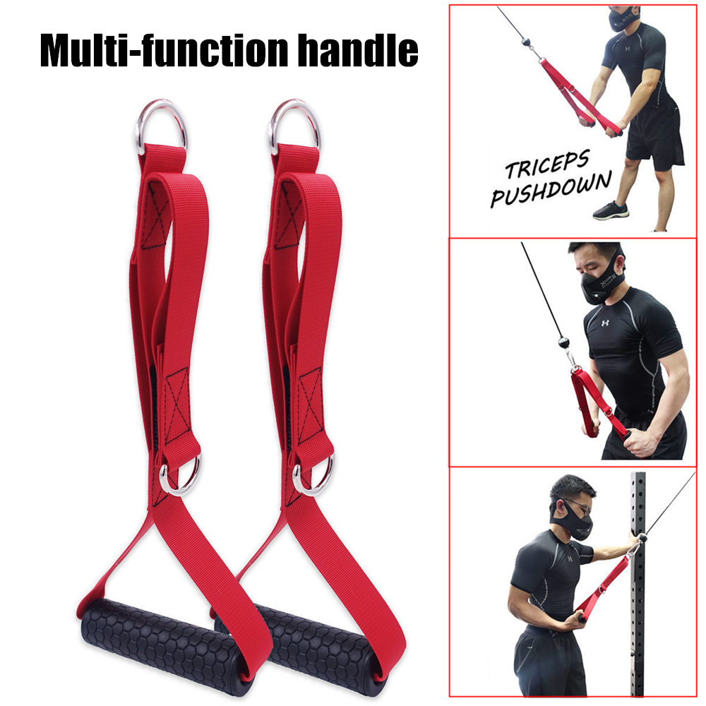 2x Fitness Tricep Grabber Double Grip Handle Strap for Strength Training Gym
