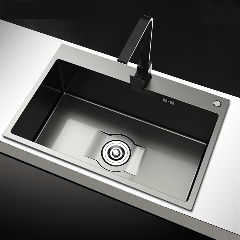 Kitchen Sink Blackening, Kitchen Sink, Black Nerving Steel, Sink With Vegetable Wash Mount