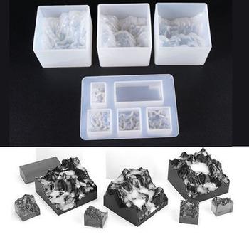 3 sztuk Mountain Peak ścierniska silikonowe formy żywicy epoksydowej silikonowe połączenie formy do DIY dokonywanie znalezienie akcesoria biżuteria tanie i dobre opinie Fatalism 0 05kg resin mold SILICONE