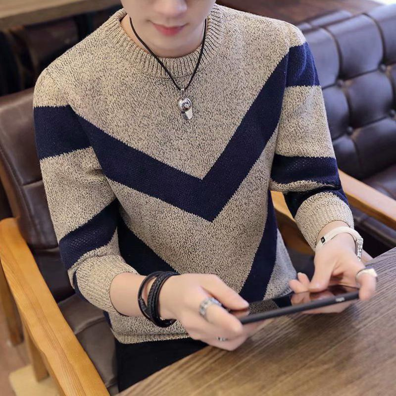Sweater Korean Pullover Stitching-Shirt Slim Round-Neck Men's 3XL Bottoming Youth